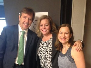 IBCCES Director Michelle Killian stands with show host Melissa Ross and President of JSHC Mike Howland before their NPR segment on Certified Autism Centers.